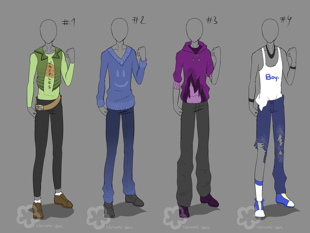 Guy Outfits - sold by Nahemii-san on DeviantArt
