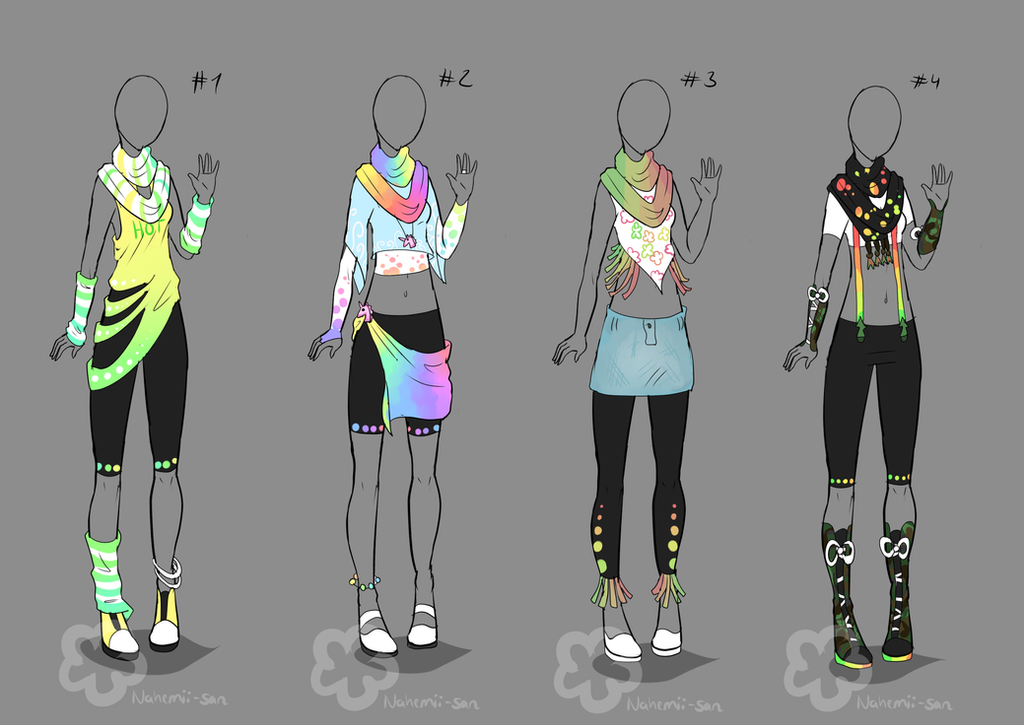 Colorful Outfit Designs #2 - Sold By Nahemii-san On DeviantArt