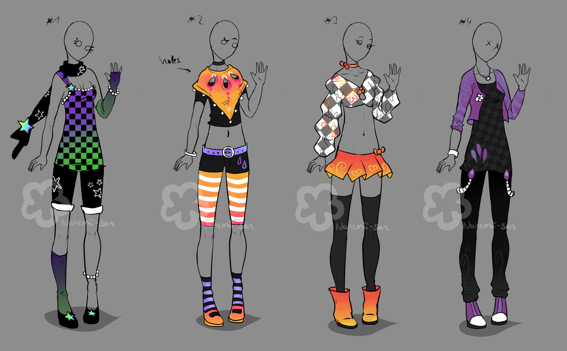 Character Design Clothing Tips : Colorful outfits sold by nahemii san on deviantart