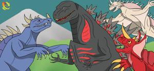 Godzilla X Varan, Baragon, and Anguirus