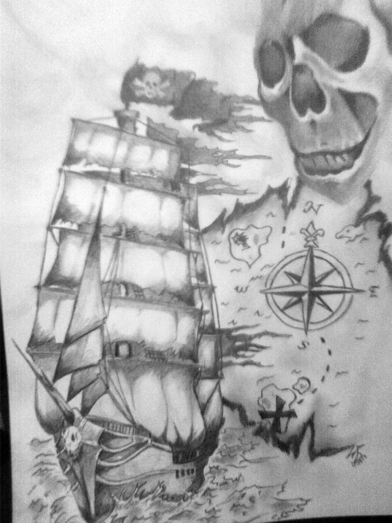 Корабль пиратский тату