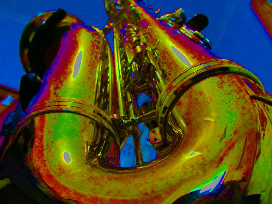 Brassy Blue Sax by nitemice