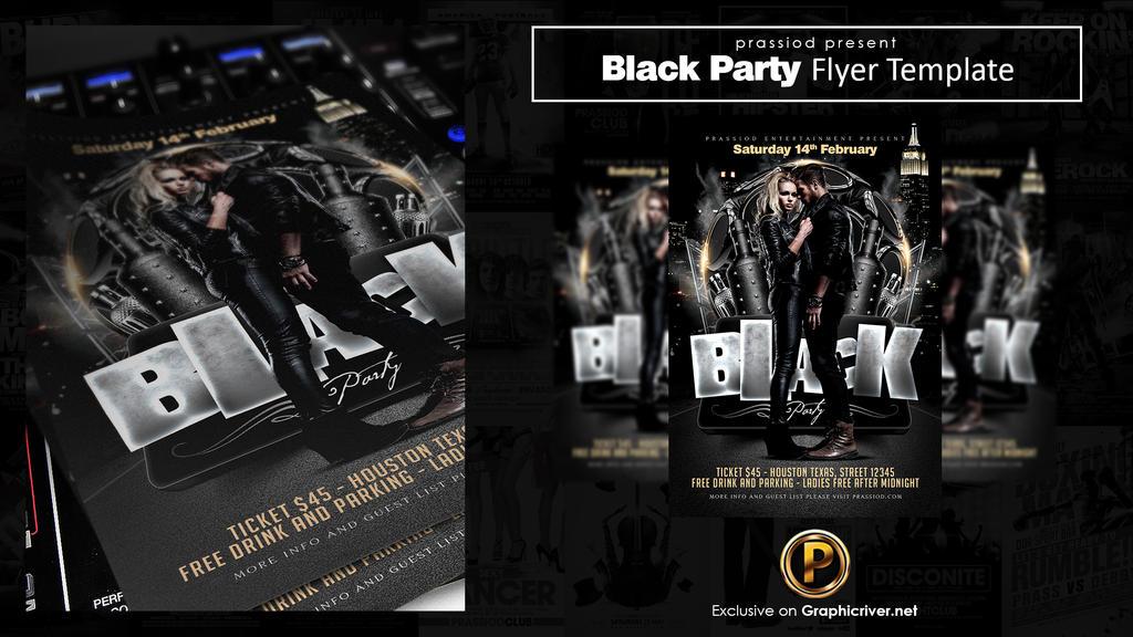 Black Party Flyer Template by prassetyo