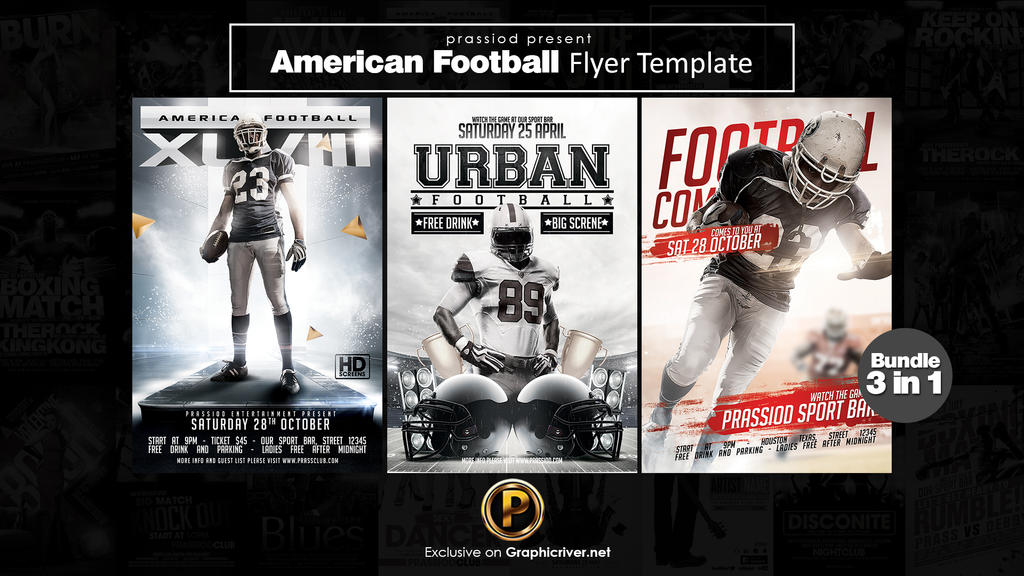 American Football Flyer Template - Bundle 3 in 1 by prassetyo