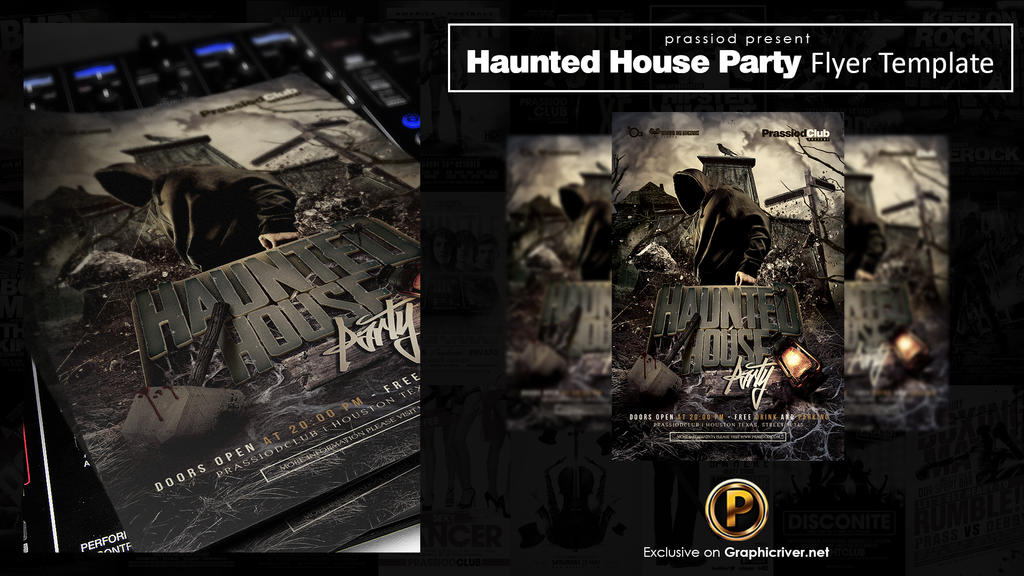 Haunted House Party Flyer Template By Prassetyo On Deviantart