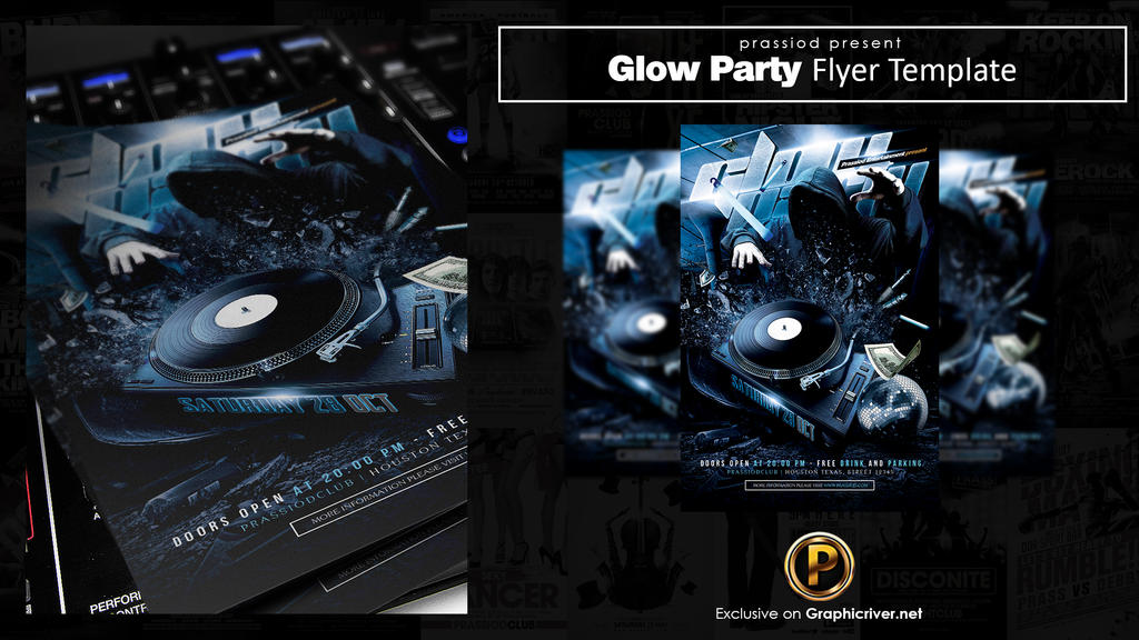Glow Party Flyer Template by prassetyo