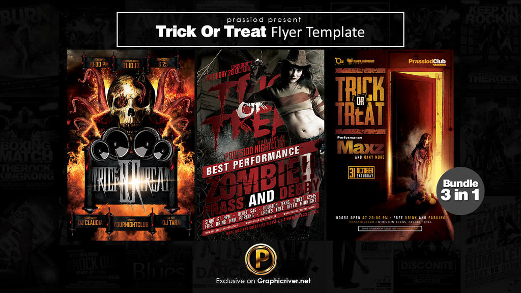 Trick Or Treat Flyer Template Bundle by prassetyo