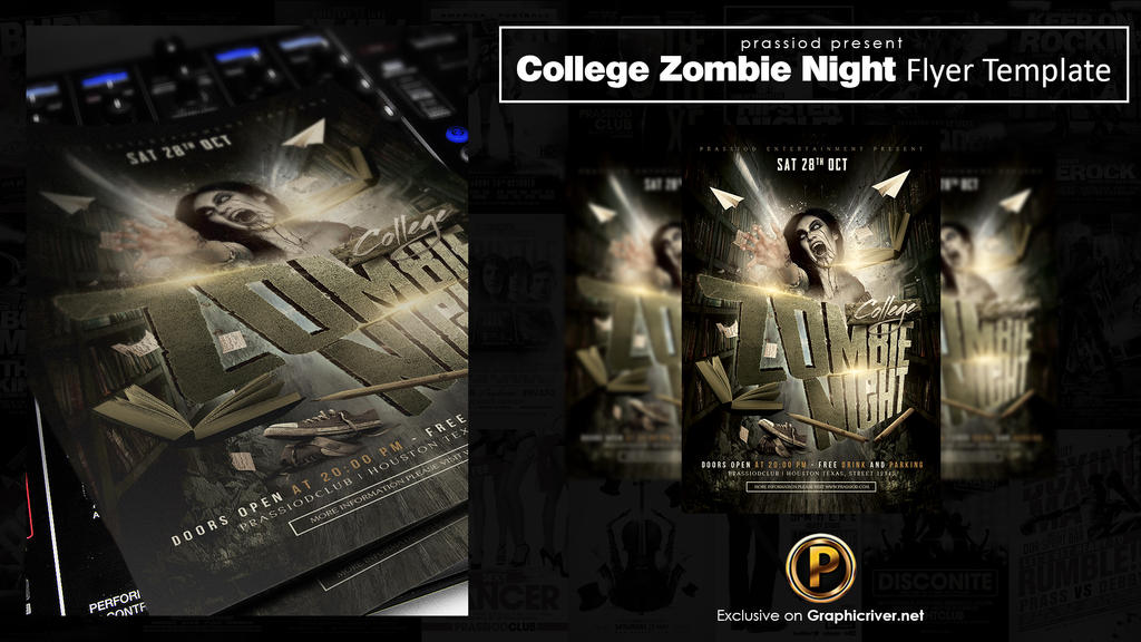 College Zombie Night Flyer Template by prassetyo
