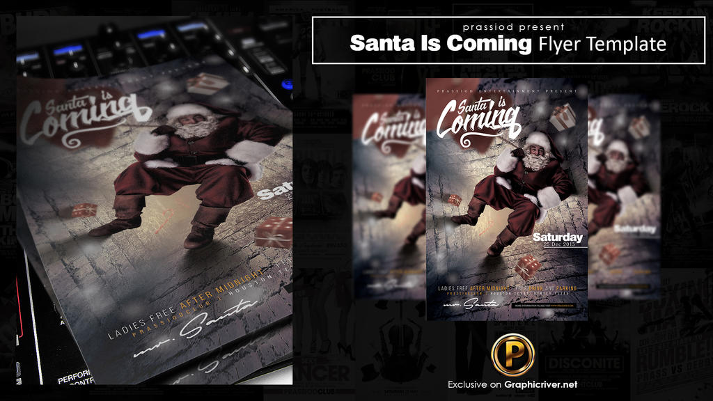 Santa Is Coming Flyer Template by prassetyo