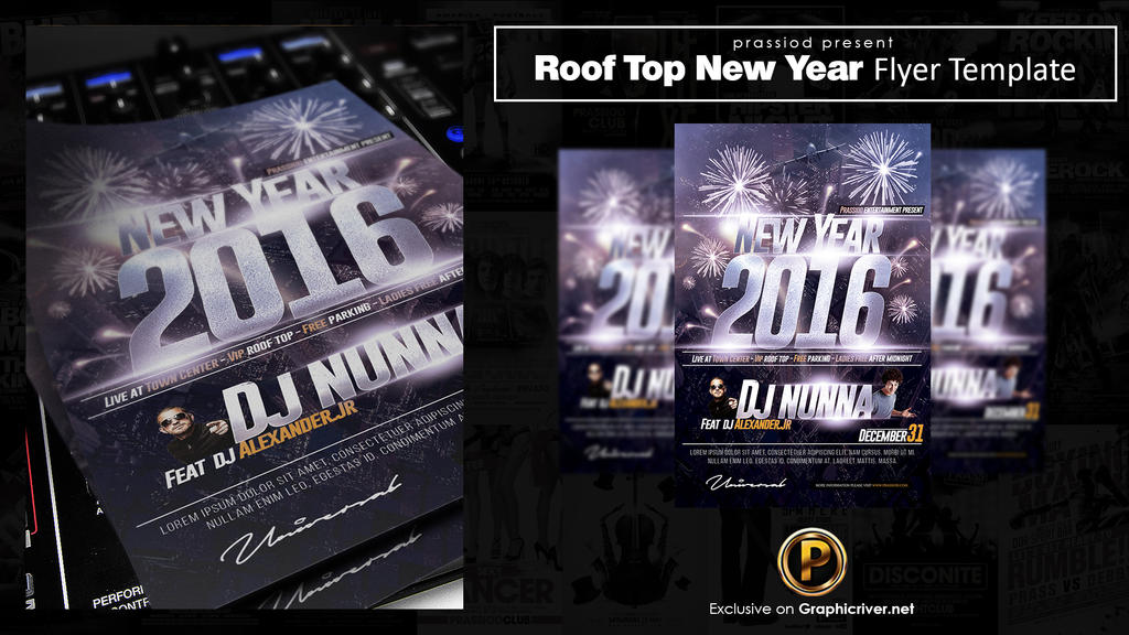 roof top new year party flyer template by prassetyo