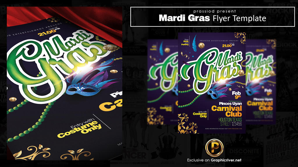 Mardi Gras Flyer Template by prassetyo