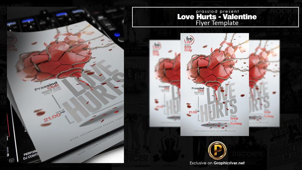 Love Hurts Valentine Flyer Template by prassetyo