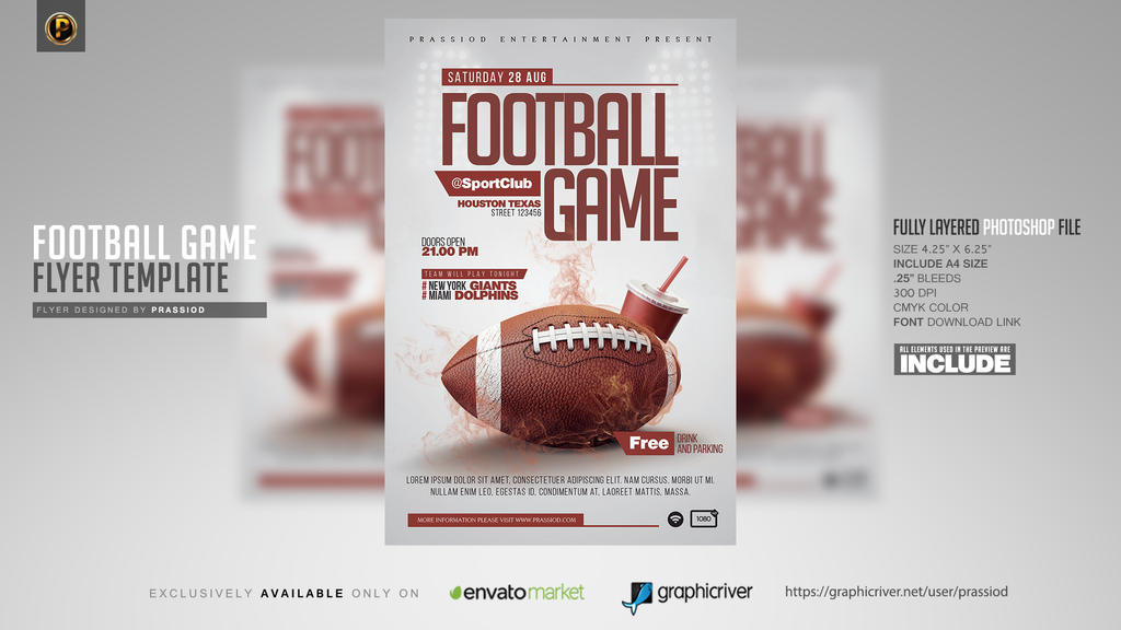 Football Game Flyer Template by prassetyo