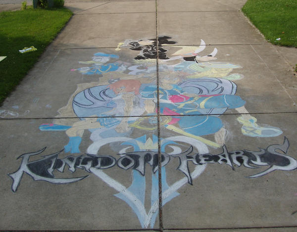 Kingdom Hearts II chalk final by bunbun369