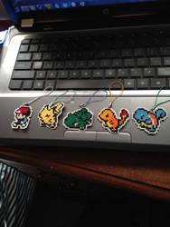 pokemon cross stitch keychains by AlphaWolfKodijr
