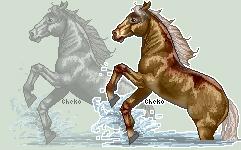 Splashing Horse Greyscale for Download by AnimalArtKingdom