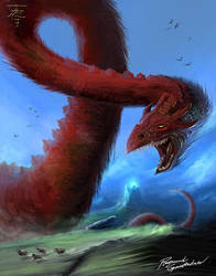 Giant red wyrm by Shockbolt