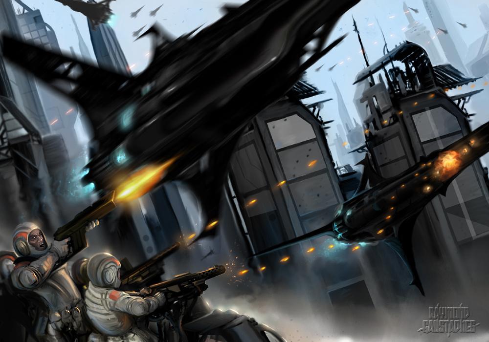 Futuristic battle scene