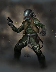 Spaceship fighter pilot concept art
