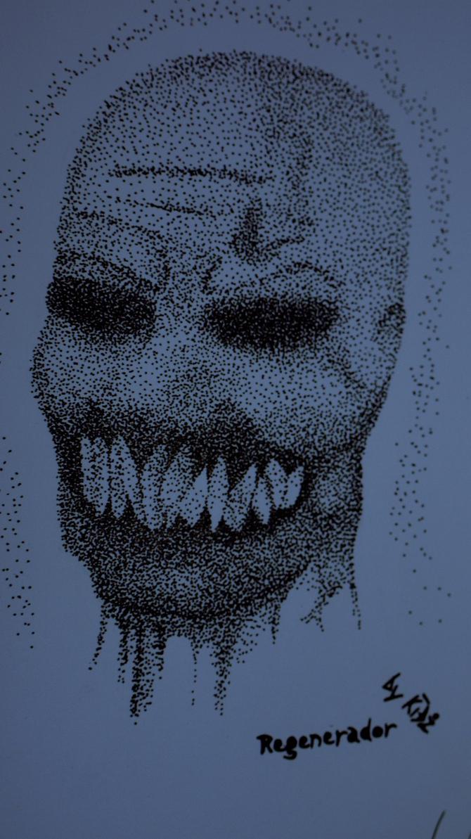 Resident Evil 4: 'Regenerador' ~Stippling by CreepyGamerKid