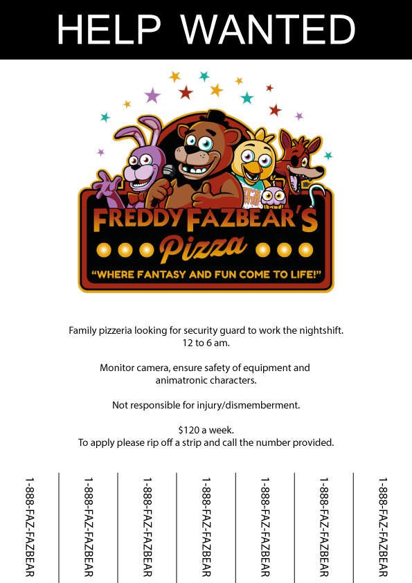 five nights at freddy s job application poster by zeldaddicted