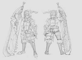 Monster Hunter my armor mixup LineArt