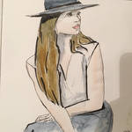 Model in a cool hat