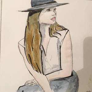 Model in a cool hat