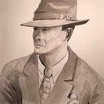 Cool hat portrait -- in greyscale ink washes