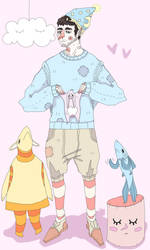 Christopher with Plushies