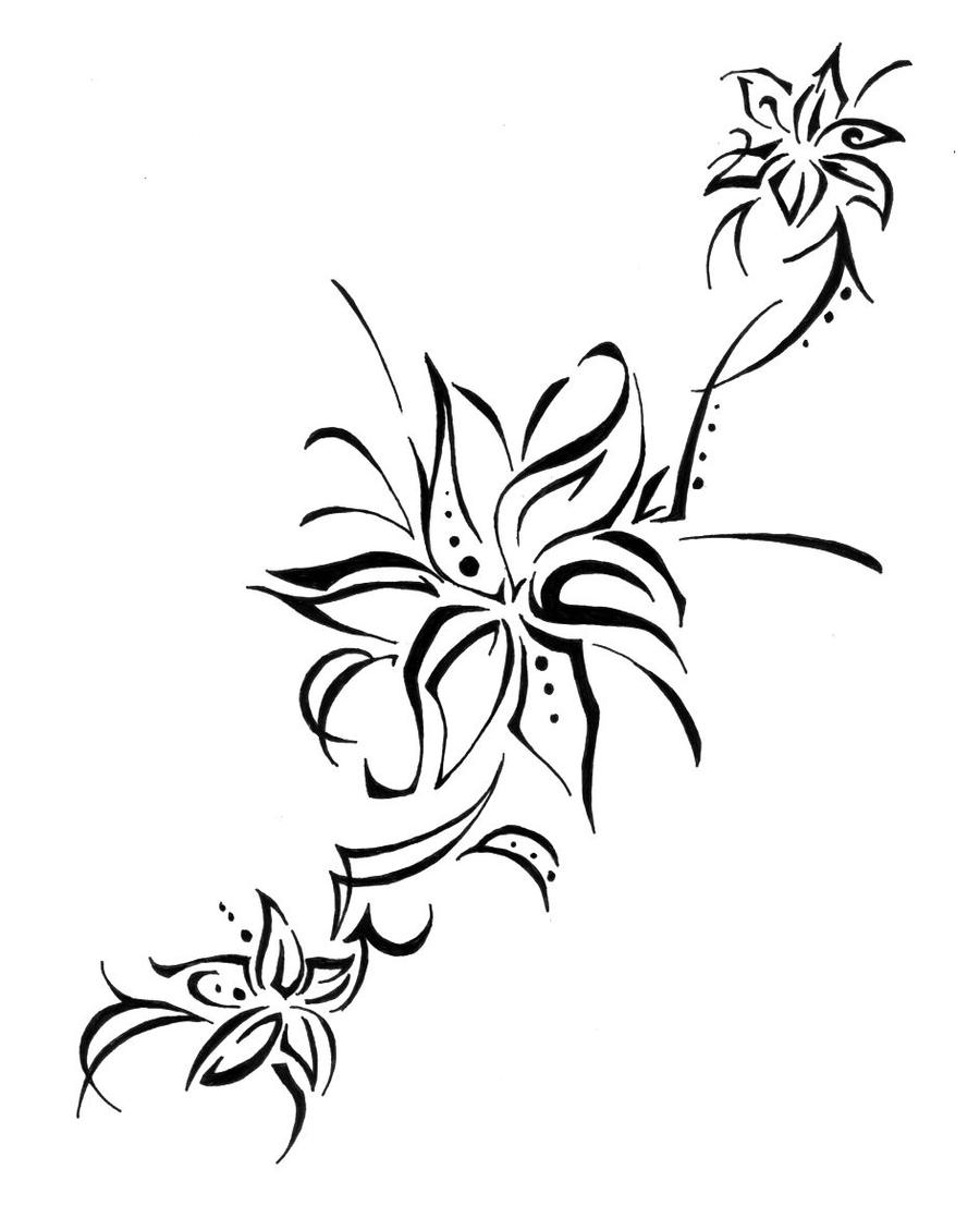 Displaying 19gt Images For Black And White Tiger Lily Tattoo