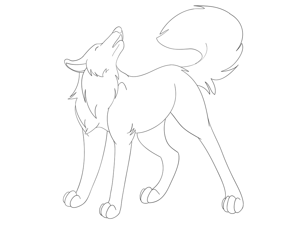 Wolf Lineart : Howling wolf lineart