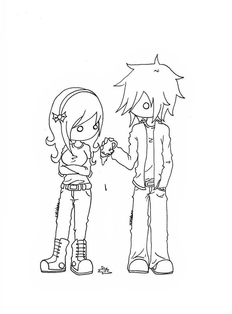 emo couples coloring pages - photo#8