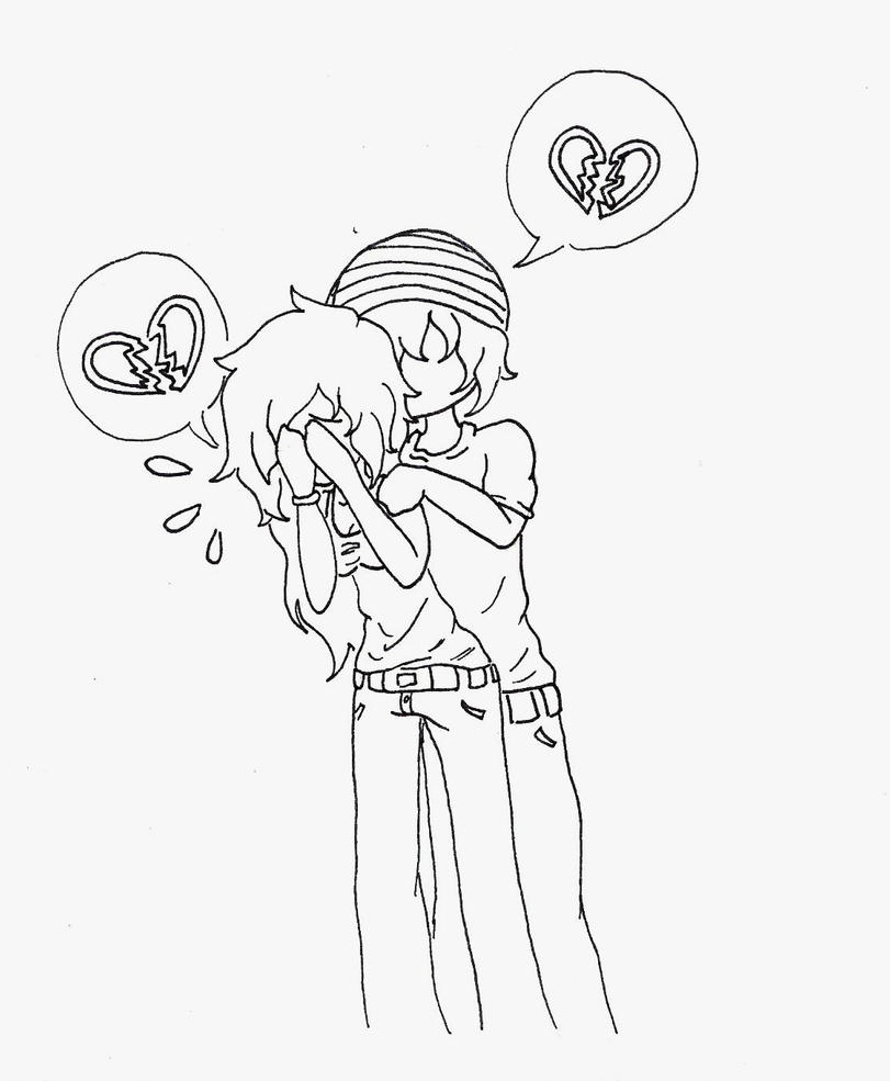 emo heart coloring pages | Anime Emo Drawings Of Broken Hearts Sketch Coloring Page
