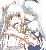 mokou and keine by pasteltea