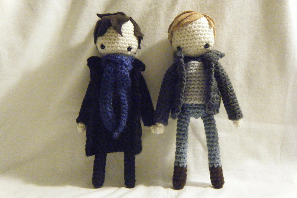 Sherlock and Dr. Watson Crocheted Dolls by yourstarrysky