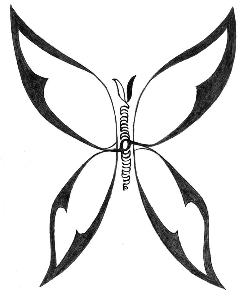 Butterfly Name Tattoo Sketch By Munin742