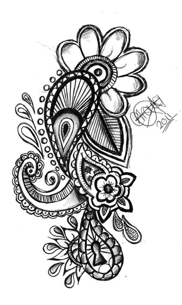 Paisley Heart Tattoo Designs