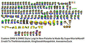 SMW SMM2 Style Luigi in New Palette Sprtie Sheet