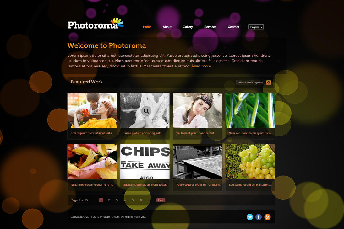 Photography services website psd template design by for Art and photography websites