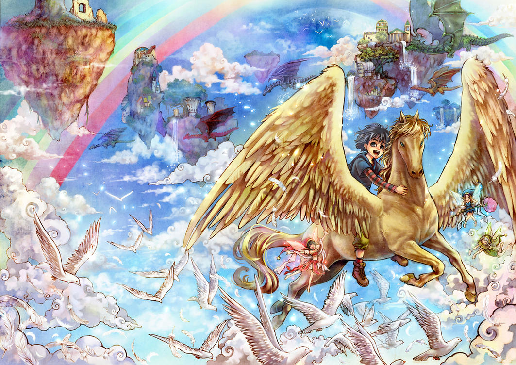Golden Pegasus by lunarlunatic
