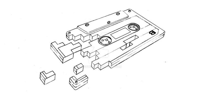 tape cassette tattoo design by bonbourney on deviantart. Black Bedroom Furniture Sets. Home Design Ideas