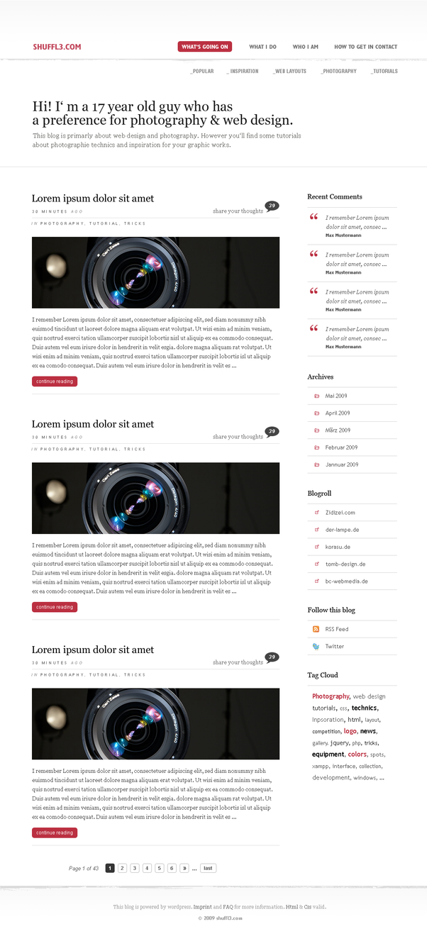 blog layout by shuffl3