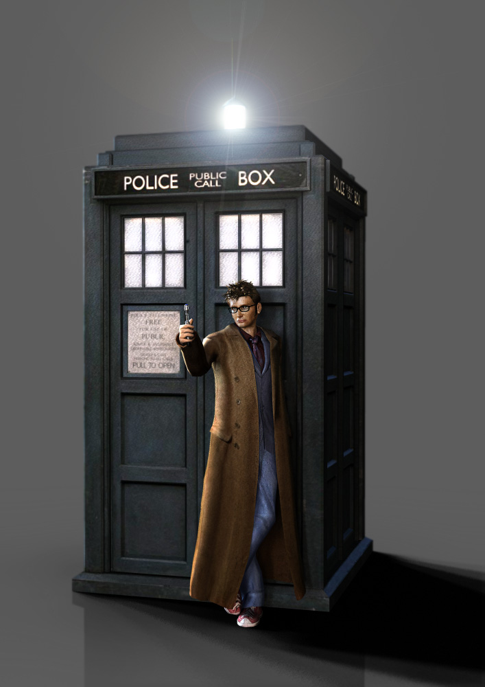 3d tenth doctor with tardis by silentrepose on deviantart