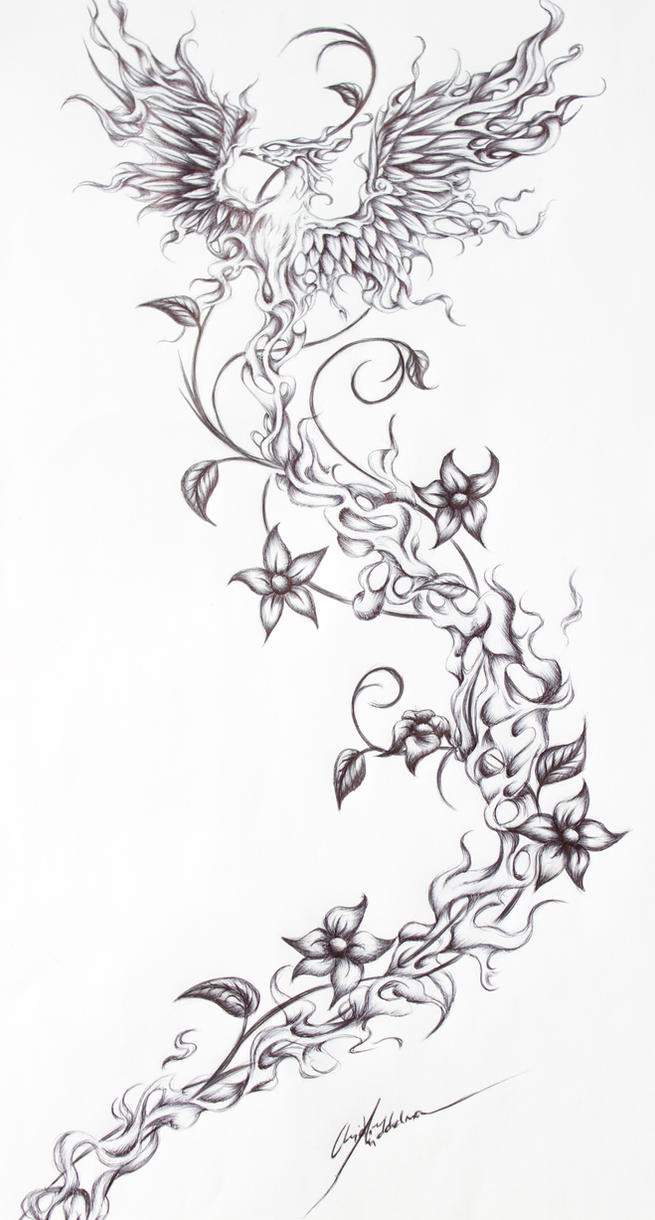 Firebird- Tattoo request from a friend by OpheliaArts on