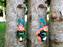 Red Fox with 'Forest' Marble Keychain by altaiira