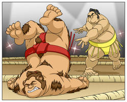 Commission: Sumo vs Werebear by MatthewSmith