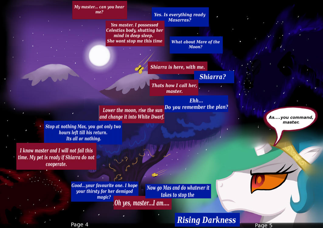 MLP: FIM Rising Darkness Page 4 and 5 by Bonaxor