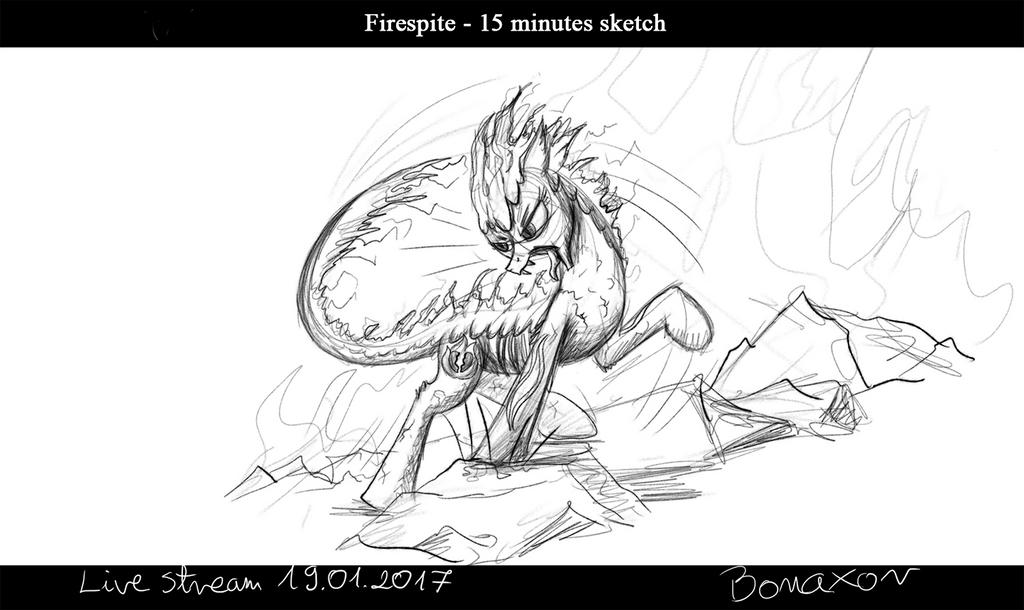 Attaking Firespite - sketch by Bonaxor