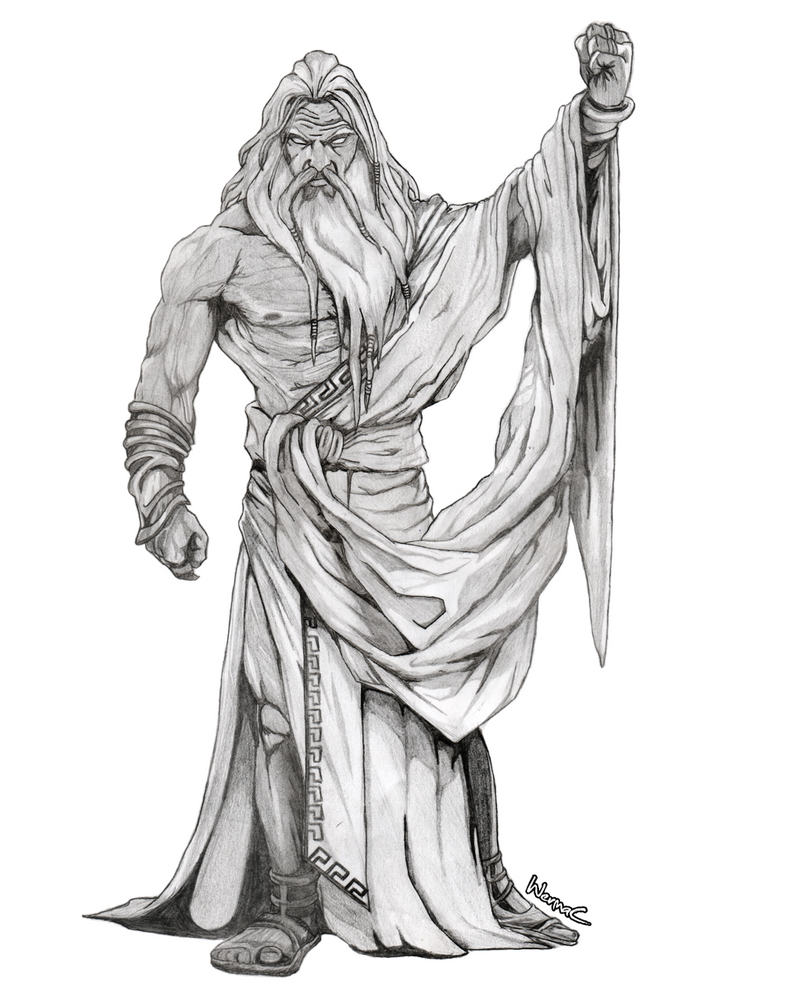 God of war zeus drawing